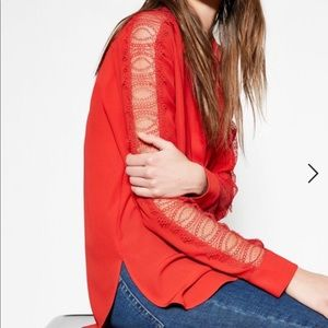The Kooples Laced Sleeve Buttondown Blouse Sz S